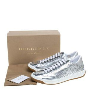 Burberry Silver Leather Perforated Sneakers 41/11